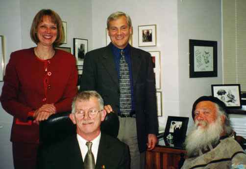 standing: Hon. Jane Stewart, Laurie Beachell; seated: Paul Young, Jim Derksen